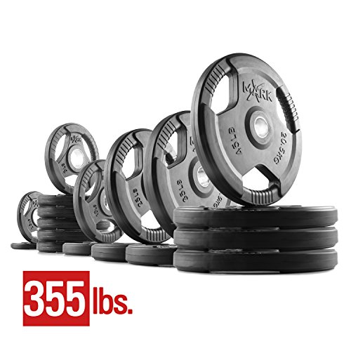 XMark Premium Quality Rubber Coated Tri-grip Olympic Plate Weights - 355 lb Set by XMark Fitness