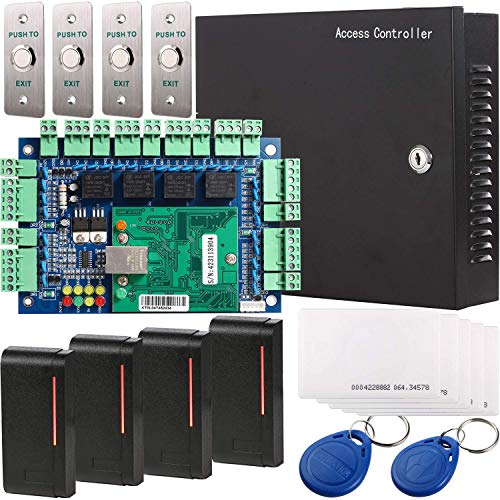 UHPPOTE Wiegand 26-bit Network RFID Access Control Board Kit Metal AC110V Power Box For 4 Doors, Power's Transformer with UL Recognized