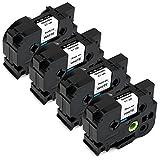 JetSir 4 Pack Brother TZe-241 TZe241 Label Tape,Use on Brother P-Touch PT2730 PT2730VP PTD400 PTD400AD PTD400VP PTD450 PTD600 PTD600VP PTH500LI PTP700 PTP750W Labeler,Black on White,18mm/0.7''X 8m