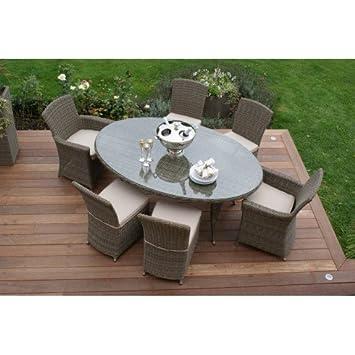 Dorset Muebles de jardín de mimbre de mesa (ovalada con 2 carva y 4 ...