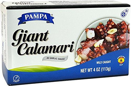 Giant Calamari In Garlic Sauce, Wild Caught (Pack of 6), 4 oz Tin - Pampa