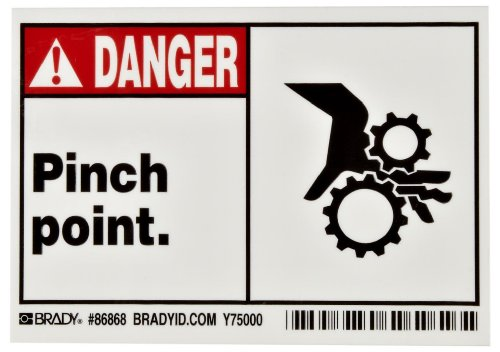 "Brady 86868 3-1/2"" Height, 5"" Width, B-302 High Performance Polyester, Black And Red On White Color Machine And Equipment Label, Legend ""Pinch Point"" (Pack Of 5)"