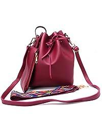 OHTOP Fashion Women Ladies PU Leather Colorful Strap Crossbody Shoulder Bucket Bag