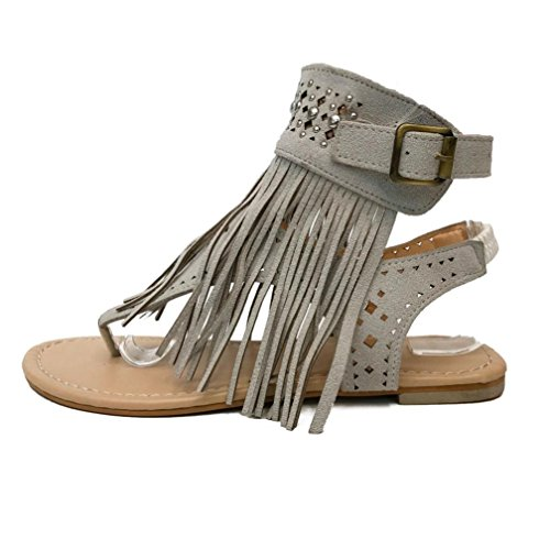 Jamicy Women Fashion Suede Tassel Design Summer Casual Flat Sandals Shoes Gray iAkBsT23ug