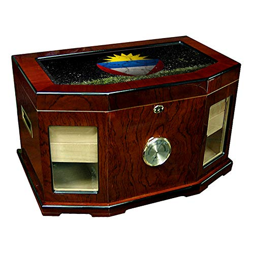 Large Premium Desktop Humidor - Glass Top - Flag of Antigua & Barbuda - Soccer Design - 300 Cigar Capacity - Cedar Lined with Two humidifiers & Large Front Mounted Hygrometer.