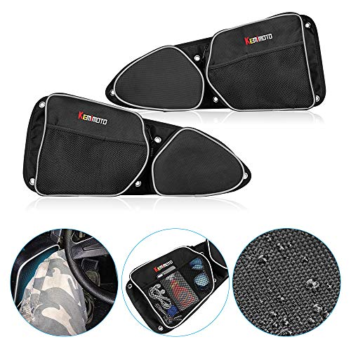 (Side Door Bags for Polaris RZR, KEMiMOTO UTV Front Door Driver and Passenger Side Storage Bag Set with Knee Pad for 2014-2018 Polaris RZR XP 1000 900XC S900(See Video for Instruction))