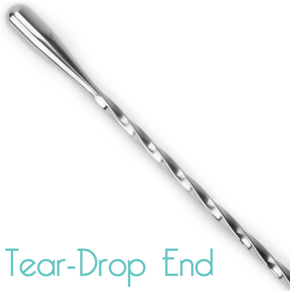 12-inch Cocktailor Twisted Mixing Spoon Long Handle Stainless Steel Cocktail Bar Spoons in Three Sizes