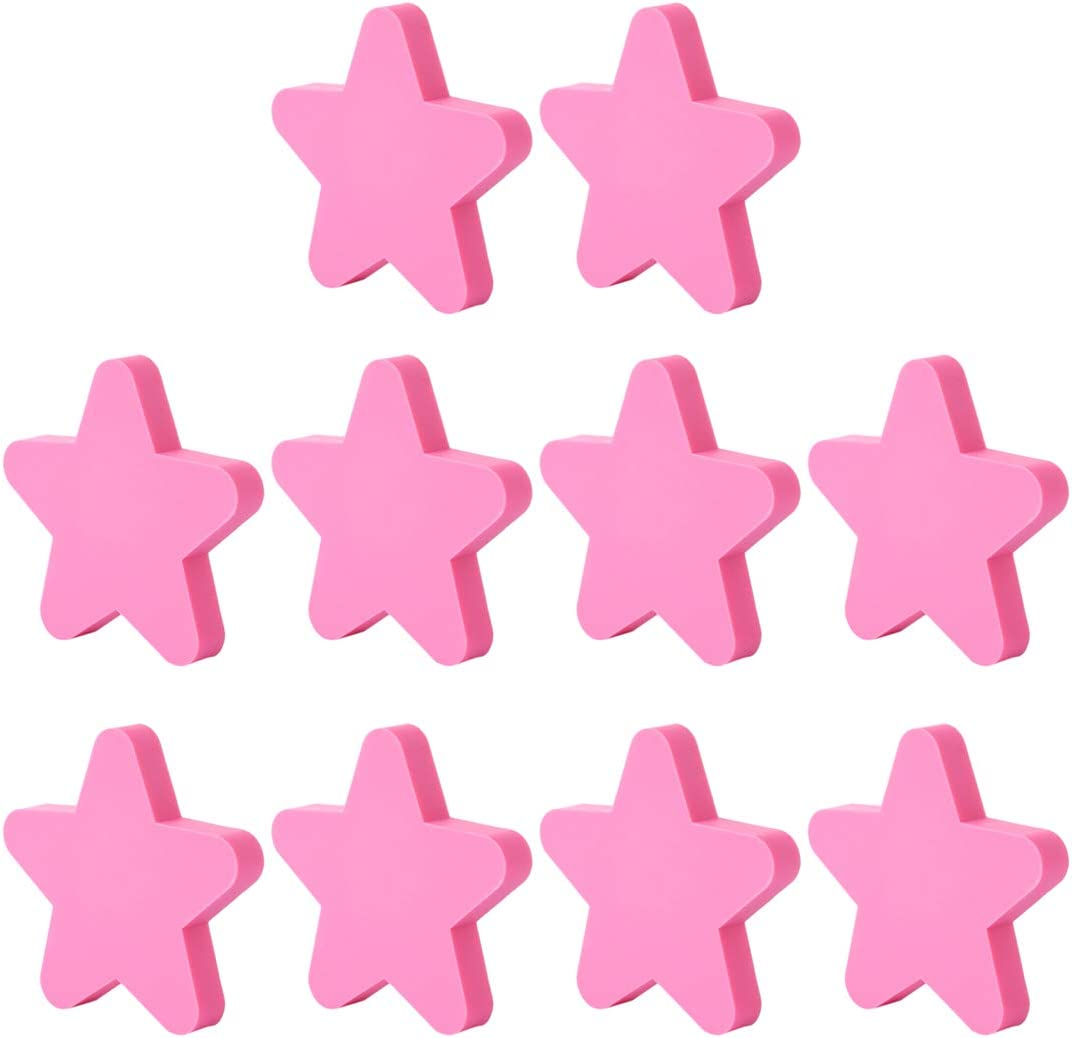 Giplar Infantiles Tiradores de PVC 10 Piezas para habitación Mueble Infantil,51x51x22mm - Forma de Estrella