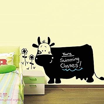 Amazon.com : Big Cow Cartoon Flowers Writing Blackboard Vinyl Wall ...