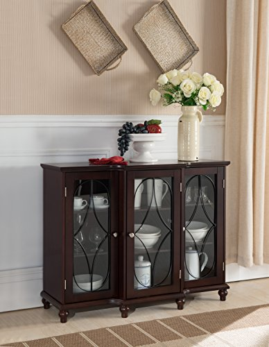 Dining Room Glass Curio Cabinet - Kings Brand Furniture - Wood Storage Sideboard Buffet Cabinet Console Table, Cherry