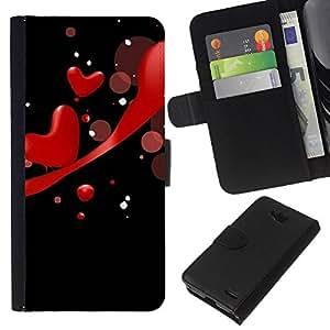 KLONGSHOP // Tirón de la caja Cartera de cuero con ranuras para tarjetas - Amor rojo de los corazones - LG OPTIMUS L90 //