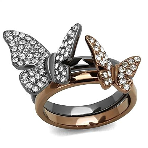 Marshal Imports IP Two Tone (Light Black & Light Brown) Clear Pave Crystal Butterfly Ring sets, Size 5,6,7,8,9,10 (7)