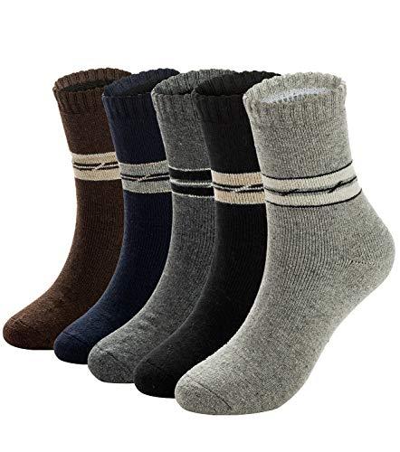 Mens Warm Wool Socks Thick Winter Hiking Stripe Wool Crew Socks 5 Pairs