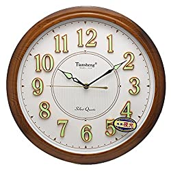 Luminous Function Wall Clock, G-Kgagze 14-Inch Lagre Decorative 3D-numbers Wall Clock with Night Lights & Non-Ticking, Silent Quartz Large Numbers Battery Operated Decorative for Living Room & Bedroom