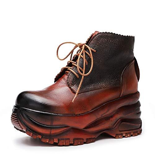 Gaslinyuan Women Comfort Leather Platform Lace up Vintage Boots (Color : Brown, Size : UK 6.5)