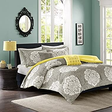 Intelligent Design -Tanya -All Seasons Comforter Set -5 Piece - Grey - Damask Pattern - Full/Queen Size - Includes 1 Comforter, 2 Shams, 2 Decorative Pillows - Ideal For Guest Room