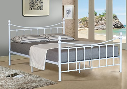 4FT SMALL DOUBLE METAL BED FRAME BEDSTEAD IN WHITE WITH MATTRESS Comfy Living