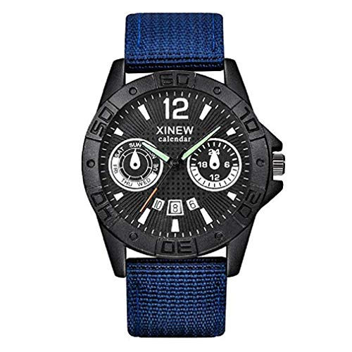 Mens Quartz Watches Windoson Clearance Leather Wrist Watches for Men with Calendar Date Window (Blue)