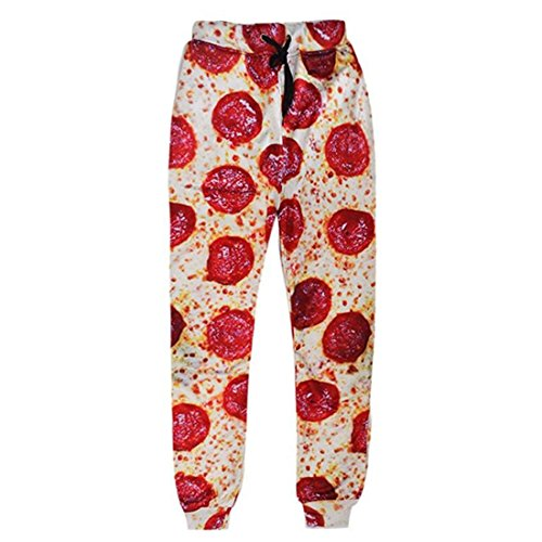 ADREAMONE Unisex 3D Printed Graphic Jogger Pants Trousers Casual Sweatpants, Pizza, X-Large