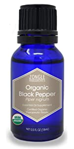 Zongle USDA Certified Organic Black Pepper Essential Oil, Ceylon, Safe To Ingest, Piper Nigrum, 15 ML