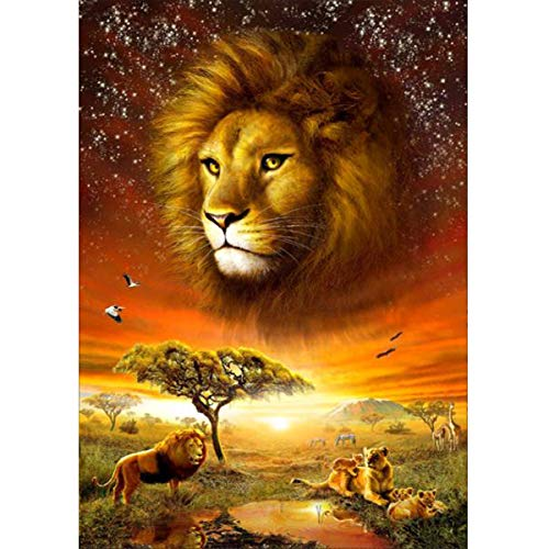 MXJSUA 5D Diamond Painting Full Round Drill Kits for Adults Pasted Embroidery Cross Stitch Arts Craft for Home Wall Decor Lion 12x16in
