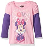 Disney Girls' Toddler Girls' Minnie Mouse Love Me Long Sleeve Two-Fer T-Shirt