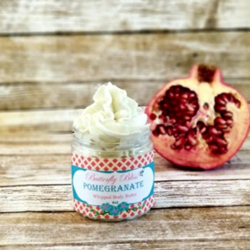 - Pomegranate Whipped Body Butter, natural lotion, organic, 4oz jar, made with shea butter, mango butter, coconut oil, almond oil