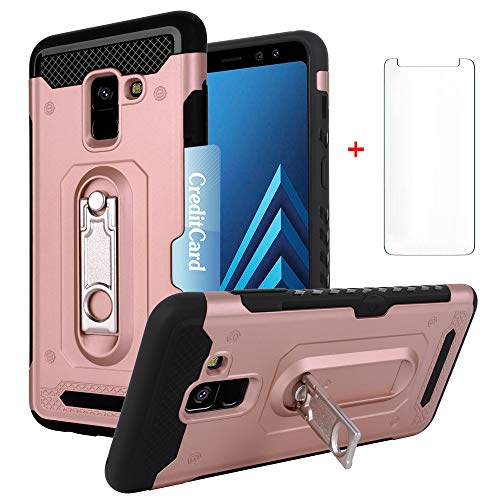 Phone Case for Samsung Galaxy A8 with Tempered Glass Screen Protector Cover and Slim Hard Wallet Credit Card Holder Slot Stand Kickstand Cell Accessories Glaxay A 8 2018 8A SM A530F A530 Cases Pink