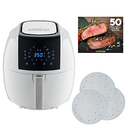 GoWISE USA 5.8-Quarts 8-in-1 Air Fryer XL + 50 Recipes for your Air Fryer Book with 1-Pack 9-inch Parchment Paper (White)