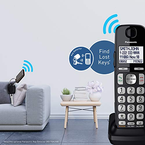 PANASONIC DECT 6.0 Expandable Cordless Phone System with Answering Machine and Call Blocking - 4 Handsets - KX-TGE434B (Black) by Panasonic (Image #10)