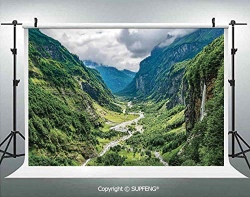 Canyon Headboard - Background Valley Mountain Tree Mist Waterfall Canyon Alpine Landscape Nature Theme 3D Backdrops for Interior Decoration Photo Studio Props