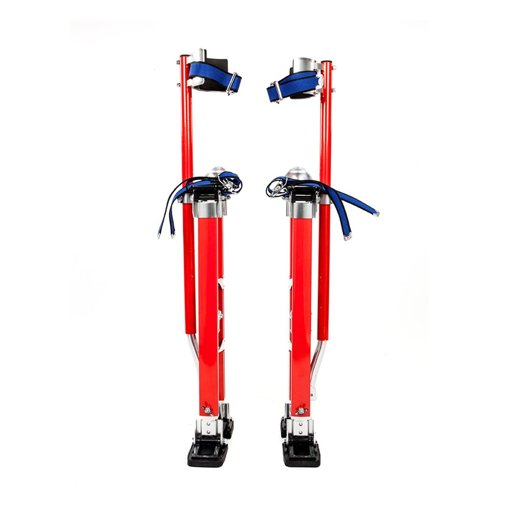 FCH Aluminum Tool Painter Stilts Height Adjustable Drywall Stilt 24''-40'' Lifts for Taping Painting Finishing Portable Lifting Tool Red