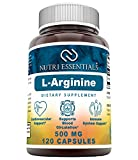Nutri Essentials L-Arginine 500 mg 120 Capsules (Non-GMO) Supplement - Best Amino Acid Arginine HCL Supplements for Women & Man - Promotes Circulation and Supports Cardiovascular Health*