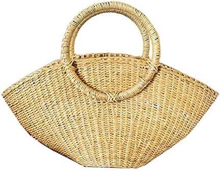0fc1e5c610cd1 JIUSHIGUANG Umhängetaschen Halbkreisförmige Mondtaschen-Ferienfreizeitreise  der Gelben Weinlesestrohbeutel-Handtasche