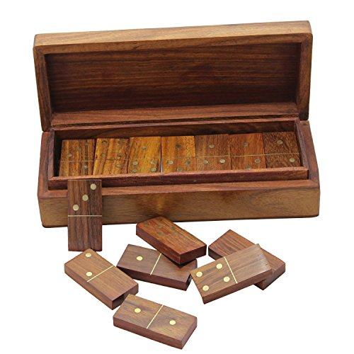 Premium Wooden Games 28 Spinners Double Six Domino with Wooden Case, Set of 6 by RoyaltyRoute