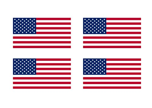 (4 Pack American Flag Patriotic Stars and Stripes Auto Decal Bumper Sticker 5x3