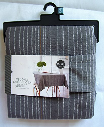 Threshold, Oblong Tablecloth, Gray Stripe, 60