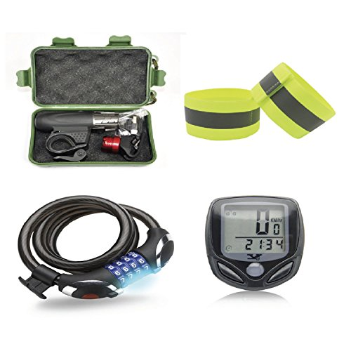 Bicycle Accessories Pack: Bicycle Lights (Front and Tail), Bicycle Computer, Combination Cable Lock with LED Light, Two Reflective Ankle Bands