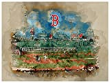 Boston Red Sox Poster Watercolor Art Print 12x16 Wall Decor