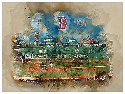 Amazon.com : Atlas Boston Red Sox Poster Watercolor Art Print 12x16 ...
