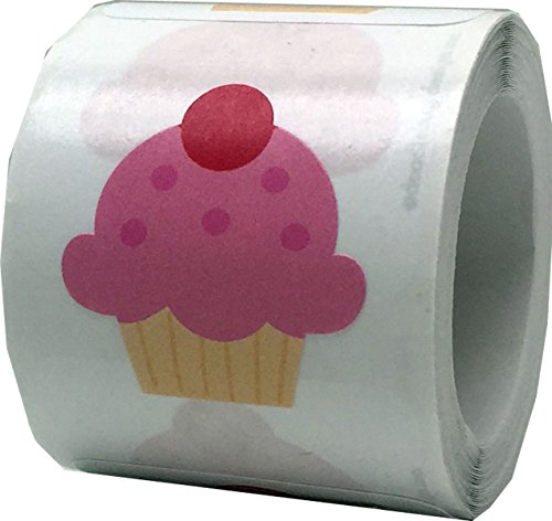 Cupcake Stickers For Valentine's Day Crafting Scrapbooking 1 Inch 100 Adhesive Stickers]()