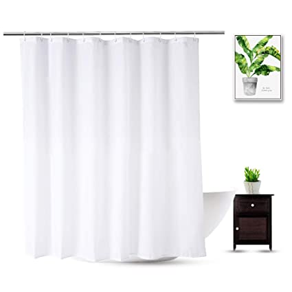 WellColor Short Shower Curtain Liner 72 X 66 Inch White Water Repellent Mildew Resistant Weighted