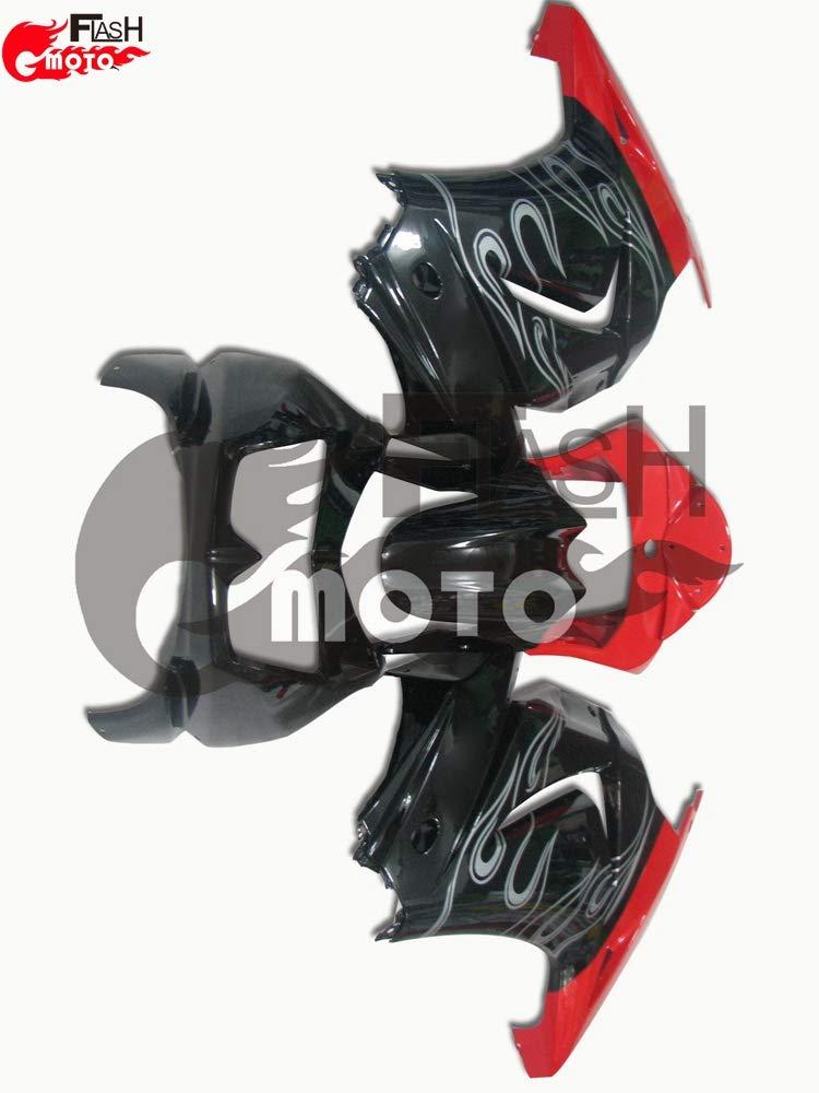 FlashMoto kawasaki 川崎 カワサキ Ninja 250 ZX250 R 2008 2009 2010 2011 2012用フェアリング 塗装済 オートバイ用射出成型ABS樹脂ボディワークのフェアリングキットセット (ブラック,レッド)   B07L8B1DL4