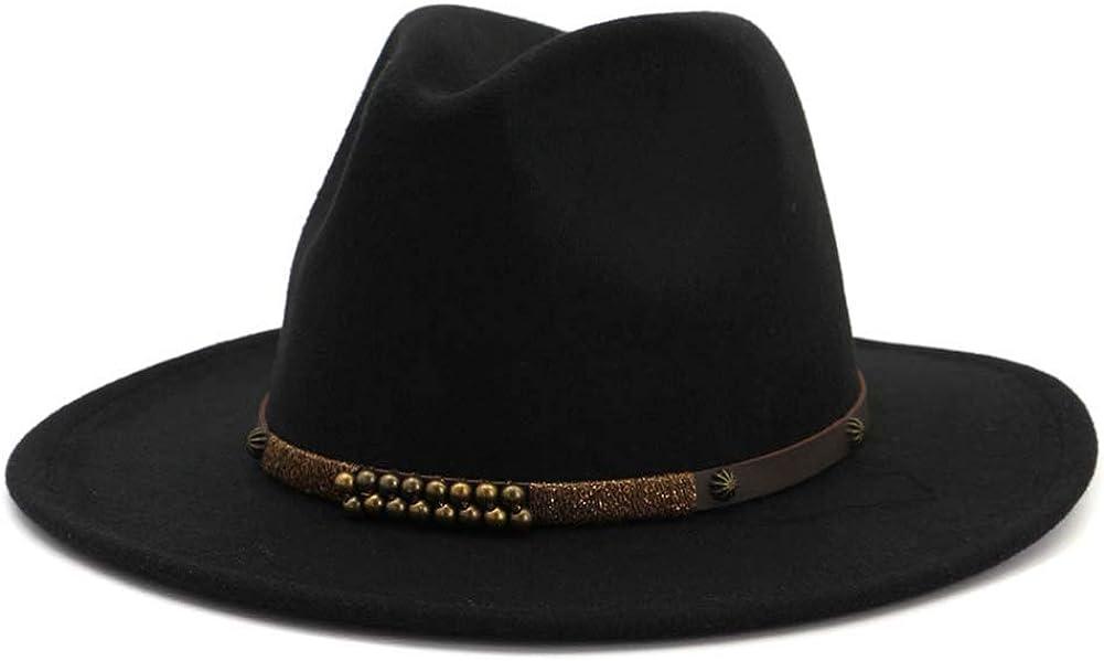 Lana De Fieltro De ala Ancha De Jazz del Sombrero De ala De Los Hombres Cl/ásicos del Partido Cap Panam/á Formal Floppy Sombrero Negro