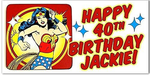 Personalized Wonder Woman Superheroes Birthday Banner Party Backdrop Decoration