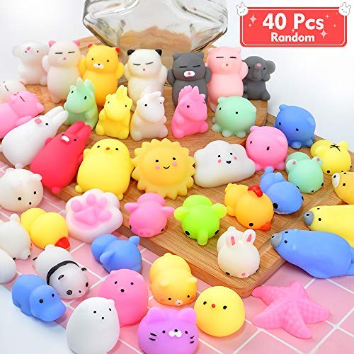 Mochi Squishy Toys ONLYO 40 PCS Random Mini Squishy Easter Egg Fillers Party Favors for Kids Kawaii Squishies Cat Animal Squishy Unicorn Squishy Stress Relief Toys Easter Toys Gifts for Kids & Adults