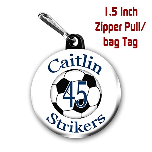 Personalized Soccer Zipper Pulls/Bag Tags 2-Pack 1.5 inch (Soccer Zipper Pull)
