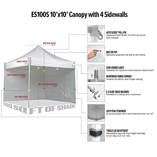E-Z UP ES100S Instant Shelter Canopy, 10 by 10′, White