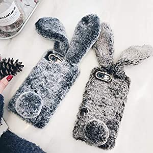 for iPhone 7 Case 3D Cute Rabbit Hairy Warm Fur Bling Rhinestone Plush Bunny Case Cover for iPhone Xs 4 4S 5 5S SE 5C 6 6S 8Plus,Red,for iPhone 7 7S