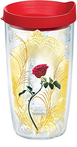 Tervis 1263789 Disney - Beauty and the Beast Rose Insulated Tumbler with Wrap and Red Lid, 16oz, -